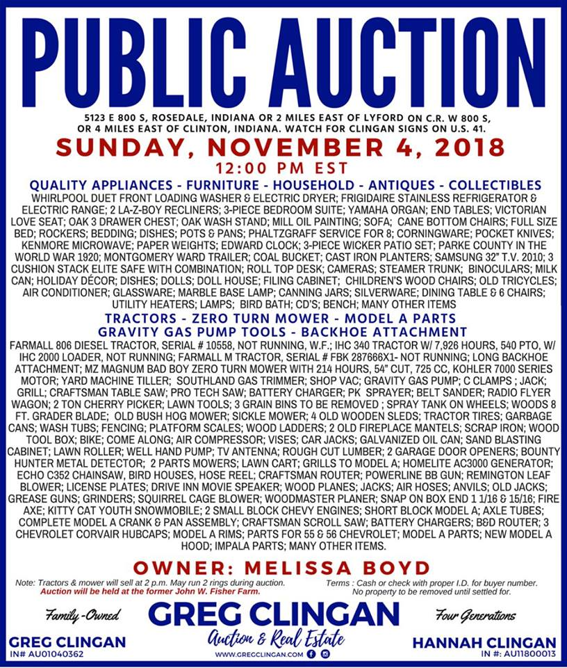 November 4 2018 12 Pm Public Auction Rosedale
