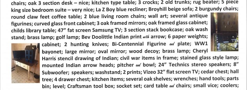 PUBLIC AUCTION –  Saturday, August 24, 2019 – 11 A.M.  –  Quality Furniture.