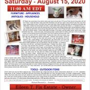 Saturday August 15, 2020 Estate Auction
