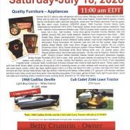 PUBLIC AUCTION – Saturday, July 18, 2020 at 11:00 am EDT