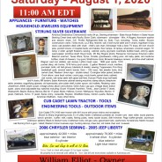 SATURDAY AUGUST 1, 2020 @ 11:00 A.M. EDT – PUBLIC AUCTION