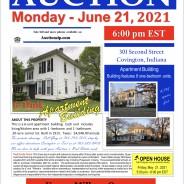 Real Estate Auction-Monday – June 21, 2021-@6:00 pm