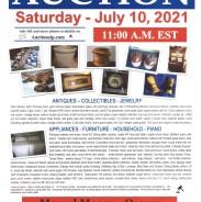 Public Auction – Saturday – July 10, 2021 @  11:00 A.M. EST