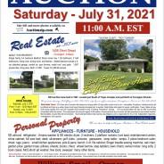 Public Auction – Saturday – July 31, 2021 @ 11:00 am EST