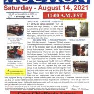 ESTATE AUCTION Saturday-August 14, 2021 @ 11:00 am EST