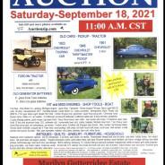 ESTATE AUCTION Saturday-September 18, 2021 @ 11:00 am C.S.T (Illinois time)